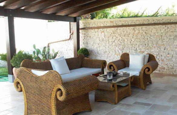 Pavimento e Muro in Pietra Apulia Rustica per Esterni